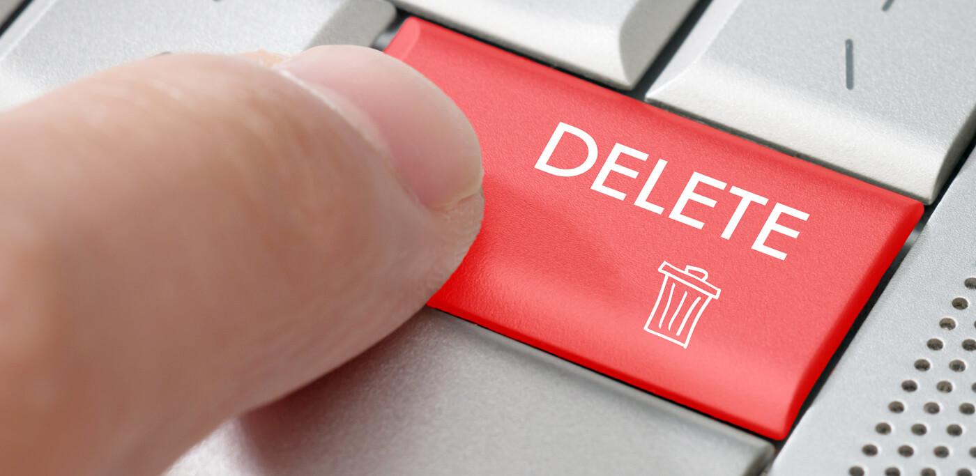 Pressing the delete key