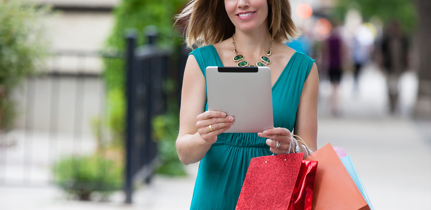 Shopping on a tablet