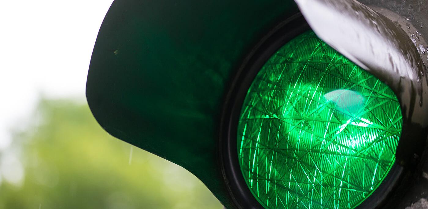 Green traffic light system for data