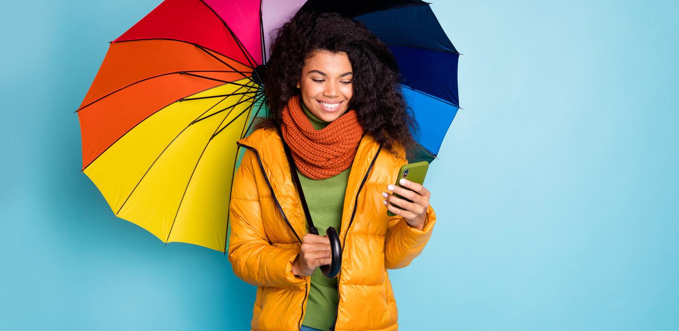 Women using an umbrella